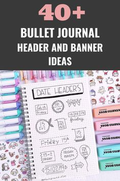 Bullet journal header and banner ideas that you need to try! Step by step doodle titles and subtitles that are SO cute and easy! Bullet Journal Inspo, Bullet Journal Header Fonts, Bullet Journal Headers And Banners, Monthly Bullet Journal Layout, Bullet Journal Titles, March Bullet Journal, Bullet Journal Cover Ideas, Organization Bullet Journal, Bullet Journal Banner