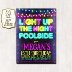 Pool party invitation Neon birthday party Neon by CoolStudio Teen Birthday Invitations, Pool Party Invitations, Printable Invitations, Party Printables, Invites, Neon Birthday, 13th Birthday, Birthday Ideas, Glow Party