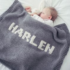 Personalised Hand Knitted Luxury Baby Blanket by The Letteroom, the perfect gift for Explore more unique gifts in our curated marketplace. Knitted Baby Blankets, Wool Baby Blanket, Cozy Blankets, Personalised Blankets, Chunky Wool, Christening Gifts, First Baby, New Baby Gifts, Baby Names
