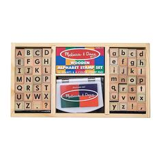 Make a Mark Kids can really make their mark with this double alphabet stamp set! The 56 wooden stamps include an uppercase alphabet and a lowercase alphabet, as well as four punctuation stamps for . H Alphabet, Alphabet Stamps, Wooden Alphabet, Alphabet Activities, Alphabet Blocks, Alphabet Crafts, Stamp Pad, Melissa & Doug, Letter Recognition