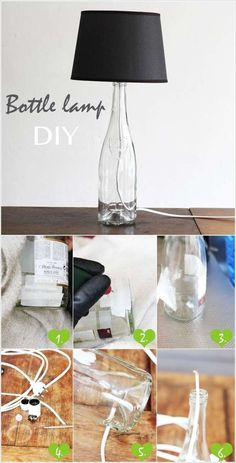 have an empty wine bottle then you just have to modify it a bit to turn it into a wonderful lamp for your home.    Image Source: lanared To make this lamp you have to drill hole in the wine bottle. Then pass a wire through it and take it out from the neck of the bottle. At the neck fix a bulb holder and bulb. Put a lampshade over it and voila.    Image Source: indiebazaar To beautify your lamp even more you can decorate the bottle as well. For example in the above picture glass paint…