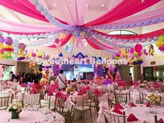 Princess theme balloon clusters Balloon with swags Balloon Decorations, Birthday Decorations, Balloon Clusters, Balloon Ceiling, Pastel Balloons, Princess Theme, January 11, Carnivals, Sleepless Nights