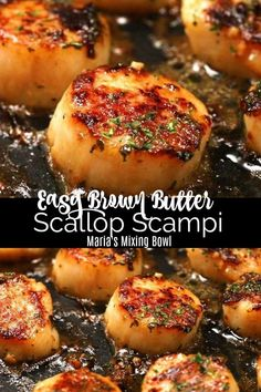 Easy Brown Butter Scallop Scampi - Delectable garlic scallops, seared to a golde. - Easy Brown Butter Scallop Scampi – Delectable garlic scallops, seared to a golden perfection in b - Best Seafood Recipes, Fish Recipes, Healthy Dinner Recipes, Cooking Recipes, Bonefish Grill Recipes, Coconut Shrimp Recipes, Recipies, Easy Steak Recipes, Dinner Party Recipes