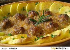 Masové kuličky pečené v kysaném zelí recept - TopRecepty.cz Czech Recipes, Ethnic Recipes, Ground Meat Recipes, No Salt Recipes, Baked Potato, Recipies, Good Food, Food And Drink, Health Fitness