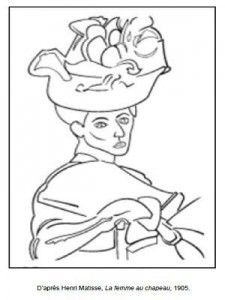 Masterpiece Coloring Page--Free printable-Henri Matisse - The Woman with a Hat Free Printable Art, Free Printable Coloring Pages, Free Coloring Pages, Coloring Sheets, Henri Matisse, Art Picasso, Kids Art Class, Art Worksheets, Ecole Art