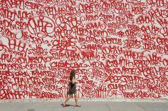 street art, red, wall