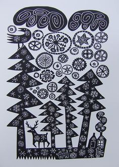I'm snagging this for inspiration: snow on firtrees, linocut by Hilke Macintyre