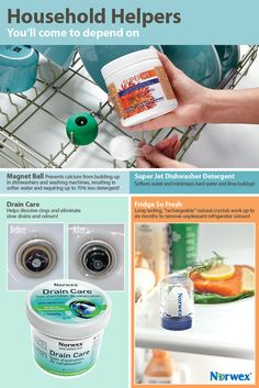 Norwex Kitchen Products. Dishwasher Detergent, Drain Cleaner and a crystal Fridge so Fresh.