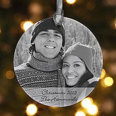 A tradition I started a few years ago for our family! Personalized Photo Christmas Ornaments - Ceramic - $12.95