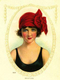 vintage bathing suit red cap