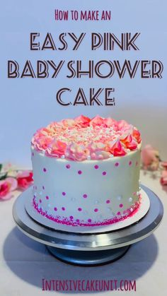 How to make an easy baby shower - chocolate raspberry-filled cake covered with white and pink frosting and a fun pink sprinkle mix! (Cake and frosting are both one-bowl recipes! Chocolate Cake Raspberry Filling, Raspberry Desserts, White Chocolate Cake, Chocolate Bark, Cake Decorating Videos, Birthday Cake Decorating, Baby Shower Kuchen, Rocher Torte, Homemade Birthday Cakes