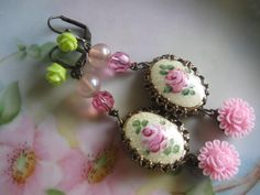 Victorian. vintage enamel jewelry rose and bead dangle earrings. $25.00, via Etsy.