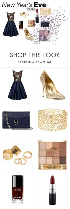 """""""nye"""" by youngblood-killjoy-sinner ❤ liked on Polyvore featuring Chi Chi, Sebastian Milano, Aspinal of London, Charlotte Russe, Pieces, Chanel, MAC Cosmetics, women's clothing, women's fashion and women"""
