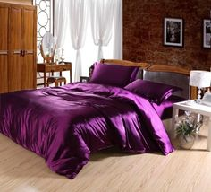 purple bedding | Purple Imitated Satin Silk Bedding-Cheap Bedding Sets-Full Queen King ...