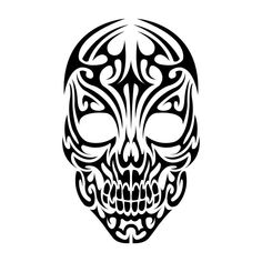 Nice Tribal Skull Tattoo Design