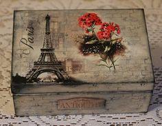 Drewniane pudełko decoupage zdobione moim ulubionym papierem ryżowym ITD Collection w