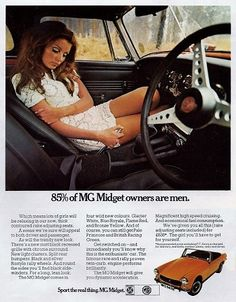 MG Midget Vintage Car Print 1970 Advertising Wall by RetroAdverts  This was my dream first car!
