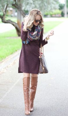 Sweater Dress and Blanket Scarf / Fashion By A Spoonful Of Style