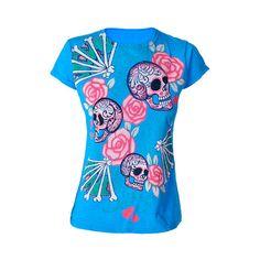 Pink Rose Skull Blue