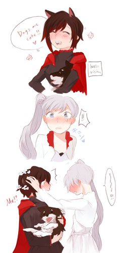 """breakfastbooty: """" Too similar to Kuma's, sorry ; Realized after drawing it… I can't draw dogs, ahaha. But, Weiss going moe over Ruby's puppy-like personality is something I couldn't resist trying to draw I guess that I should've seen Weiss. Love Drawings, Animal Drawings, Drawing Animals, Rwby White Rose, Yuri Comics, Rwby Bumblebee, Rwby Red, Rwby Comic, Rwby Ships"""