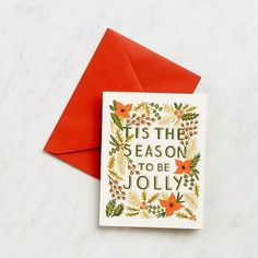Tis is the season to be jolly with these Rifle holiday cards!  Blank inside. Paired with red envelopes. Made in the USA. <br><br>Size - 4.25 X 5.5
