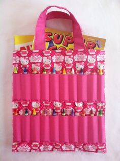 hello kitty pink coloring book and crayon holder bagtote - Coloring Book And Crayon Holder