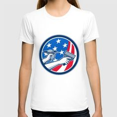 American Drywall Repair Service Flag Circle Retro T-shirt. Illustration of a plasterer hand repair drywall with putty knife and holding a hawk with plaster set inside circle with American USA stars and stripes flag done in retro style. #Illustration #AmericanDrywallRepairService