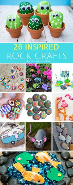 Arty Crafty Kids Craft Creative Rock Crafts for Kids Create rock pets, rock puzzles, rock art and much much more with this gorgeous collection of 26 Rock Crafts for Kids! Crafts For Kids To Make, Craft Activities For Kids, Projects For Kids, Craft Projects, Kids Crafts, Craft Ideas, Creative Crafts, Easy Crafts, Diy And Crafts
