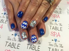 Electric blue and white chevron with silver foil