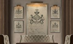 Coat of Arms Print 3 : Family Crest   18th by FirstClassDesignCo
