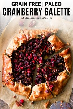Rustic and addicting grain free and paleo cranberry galette! Delicious and flaky crust is filled with fresh or frozen cranberries and pecans tossed in all the fall spices and flavors. It's a beautiful dessert for your Thanksgiving table! #paleo #grainfree #glutefree #paleothanksgiving #glutenfreethanksgiving #dairyfree