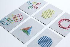 幾何学刺繍のポストカード - hoki