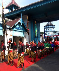 The Royal Soldiers of Keraton Surakarta March Before The Pakubuwono.Traditional parade in Surakarta to commemorate 8 years of the coronoation of the king, Sinuhun Pakubuwono XIII of Surakarta