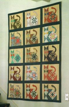 Even if you are not a cat fan, you have to admit this is an adorable quilt!   from:  http://w1.avis.ne.jp/~miyako/cat.JPG