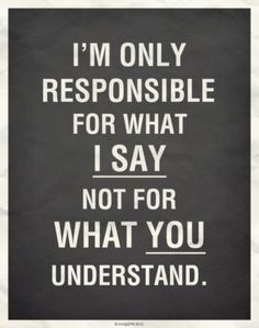 I'm only responsible for what I SAY not for what YOU understand ... Je suis seulement responsable de ce que JE DIS pas de ce que TU comprends ...