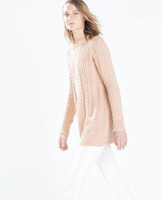 LONG CABLE STITCH SWEATER from Zara