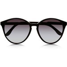 Stella McCartney Cat eye acetate sunglasses ($190) ❤ liked on Polyvore featuring accessories, eyewear, sunglasses, glasses, óculos, black, cat-eye, uv protection sunglasses, stella mccartney sunglasses and lens glasses