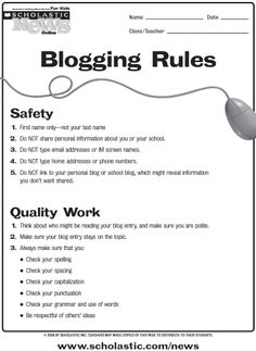 Blogging guidelines for students.