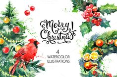 Christmas Watercolor Illustrations by Elena Pimonova on Creative Market