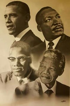 portraits d'hommes politiques noirs US et sud-africain : Barak Obama Martin Luther King Malcolm X Nelson Mandela Art Black Love, Black Is Beautiful, Photo Star, Black Leaders, Black Art Pictures, Black History Facts, Black History Month People, Black Artwork, Black African American