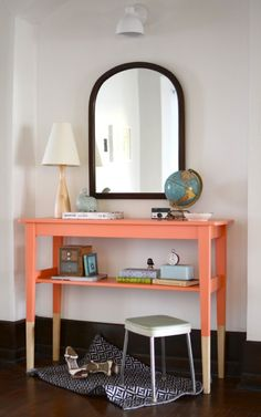 5 Great DIY Entry Tables With Tutorials | Shelterness. love the color blocking! just need oversized storage baskets underneath!