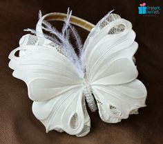 White butterfly fascinator, flowergirl headband, white buterfly, butterfly I am not getting married but I sure do want this - beautiful