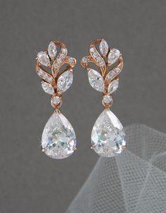 Rose Gold Bridal Earrings, Crystal Wedding Jewelry, Gold Bridal Jewelry, Swarvski, 2 Pairs in 1, Callie Bridal Earrings