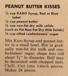 1950's Recipe for Peanut Butter Kisses from a Karo Syrup Cookbook