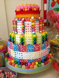 Candy cake- I am going to have to reproduce this! Candy Theme Cake, Candy Cakes, Candy Party, Cupcakes, Cupcake Cookies, Birthday Candy, Candy Bouquet, Candy Store, Sweet Cakes