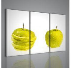 Una stampa su tela superba: due mele particolareggiate, una intera ed una affettata in orizzontale su se stessa, con fondo bianco a fare contrasto. Un quadro perfetto per arredo bar, ristoranti, ma che ben si abbina anche a cucine e salotti.