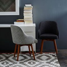 This is the chair from West Elm I was talking about for your desk.  I'll pin another image of it from the front view.  Saddle Office Chairs