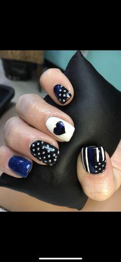 Thin Line, Thin Blue Lines, Matte Nails, Acrylic Nails, Black And Blue Nails, Line Nail Designs, Line Nail Art, Lines On Nails, Nail Ideas