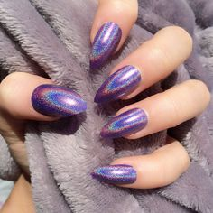 Doobys Stiletto Nails - HOLOGRAPHIC Purple - 24 Claw Point False Nails unique new hand made