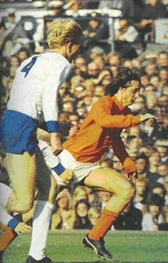 Holland 3 East Germany 2 in Oct 1971 in Rotterdam. Johan Cruyff runs at the Germans in this Euro Championship Qualifier.